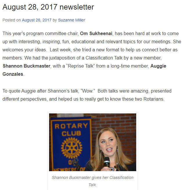 Rotary Newsletter 8-28-2017